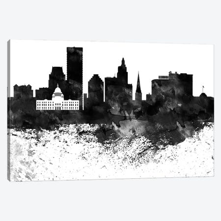 Providence Skyline Black & White Drops Canvas Print #WDA1219} by WallDecorAddict Canvas Art Print