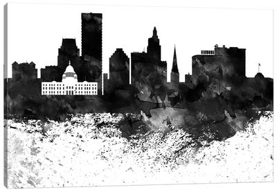 Providence Skyline Black & White Drops Canvas Art Print