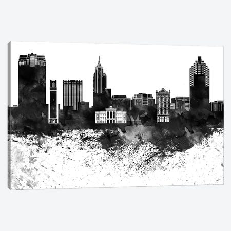 Raleigh Skyline Black & White, Drops Canvas Print #WDA1221} by WallDecorAddict Canvas Artwork