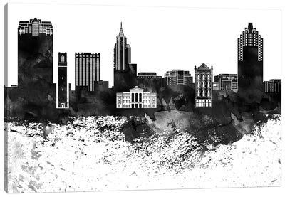 Raleigh Skyline Black & White, Drops Canvas Art Print