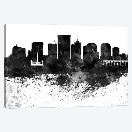 Richmond Skyline Black & White, Drops Canvas Print #WDA1223} by WallDecorAddict Canvas Art