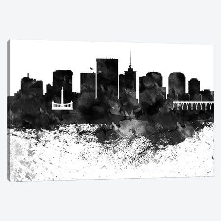 Richmond Skyline Black & White, Drops Canvas Print #WDA1223} by WallDecorAddict Canvas Art