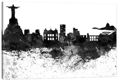 Rio Skyline Black & White, Drops Canvas Art Print