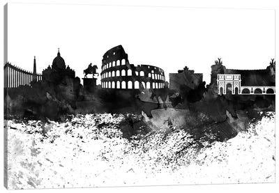 Rome Skyline Black & White, Drops Canvas Art Print