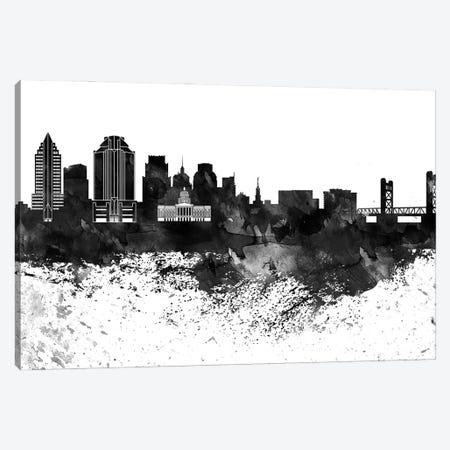 Sacramento Skyline Black & White, Drops Canvas Print #WDA1227} by WallDecorAddict Art Print