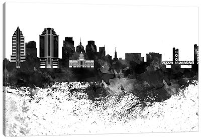 Sacramento Skyline Black & White, Drops Canvas Art Print