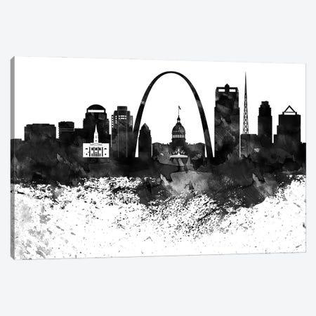Saint Louis Skyline Black & White, Drops Canvas Print #WDA1228} by WallDecorAddict Canvas Art