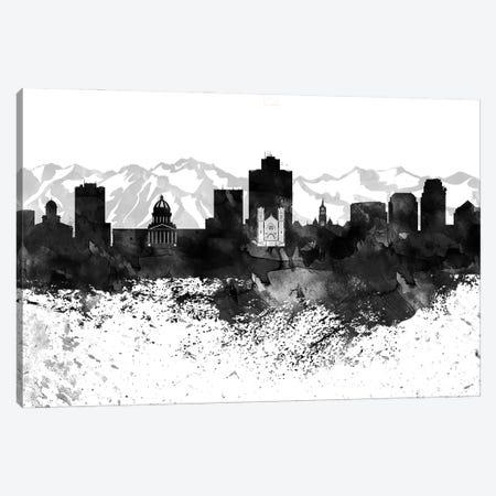 Salt Lake Skyline Black & White, Drops Canvas Print #WDA1229} by WallDecorAddict Canvas Art