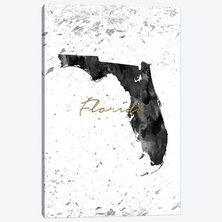 Florida Black And White Gold Canvas Print #WDA122} by WallDecorAddict Canvas Wall Art