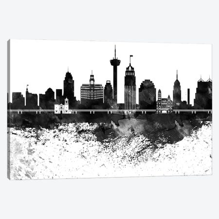 San Antonio Skyline Black & White, Drops Canvas Print #WDA1230} by WallDecorAddict Canvas Art Print