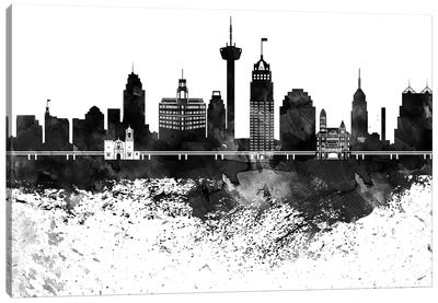 San Antonio Skyline Black & White, Drops Canvas Art Print