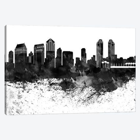 San Diego Skyline Black & White, Drops Canvas Print #WDA1231} by WallDecorAddict Canvas Art Print