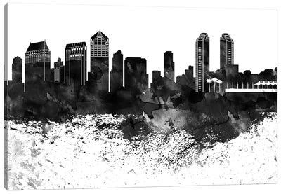 San Diego Skyline Black & White, Drops Canvas Art Print