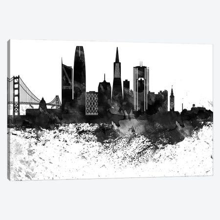San Francisco Skyline Black & White, Drops Canvas Print #WDA1232} by WallDecorAddict Canvas Print