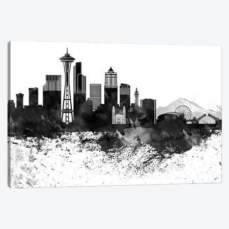Seattle Skyline Black & White, Drops Canvas Print #WDA1234} by WallDecorAddict Canvas Artwork