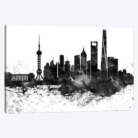 Shanghai Skyline Black & White, Drops Canvas Print #WDA1236} by WallDecorAddict Canvas Wall Art