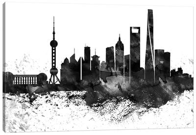 Shanghai Skyline Black & White, Drops Canvas Art Print