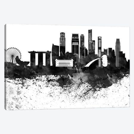 Singapore Skyline Black & White, Drops Canvas Print #WDA1237} by WallDecorAddict Canvas Artwork