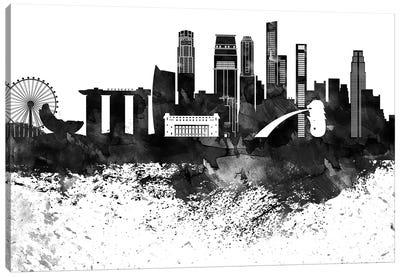 Singapore Skyline Black & White, Drops Canvas Art Print