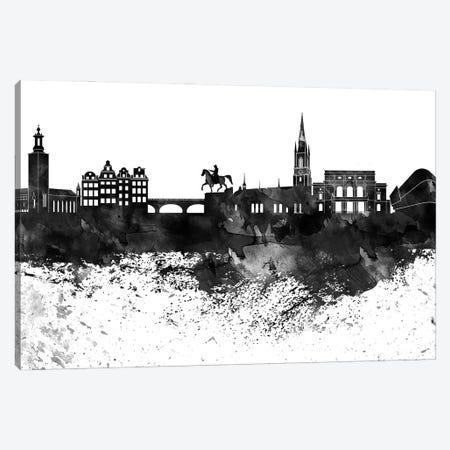 Stockholm Skyline Black & White, Drops Canvas Print #WDA1238} by WallDecorAddict Canvas Print