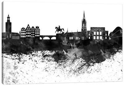 Stockholm Skyline Black & White, Drops Canvas Art Print