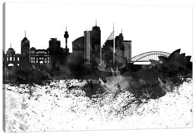 Sydney Skyline Black & White, Drops Canvas Art Print