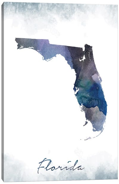 Florida State Bluish Canvas Art Print