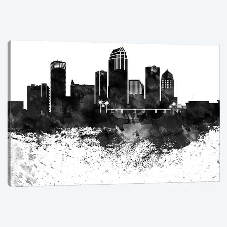 Tampa Skyline Black & White, Drops Canvas Print #WDA1241} by WallDecorAddict Canvas Art