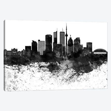 Toronto Skyline Black & White, Drops Canvas Print #WDA1244} by WallDecorAddict Canvas Art Print