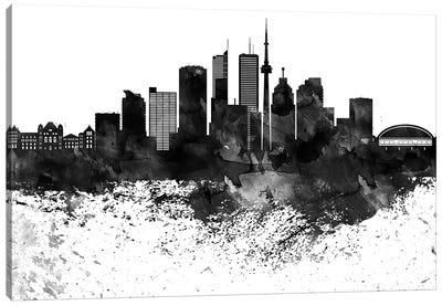 Toronto Skyline Black & White, Drops Canvas Art Print