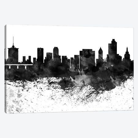 Tulsa Skyline Black & White Drops Canvas Print #WDA1245} by WallDecorAddict Canvas Art Print