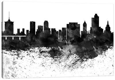 Tulsa Skyline Black & White Drops Canvas Art Print