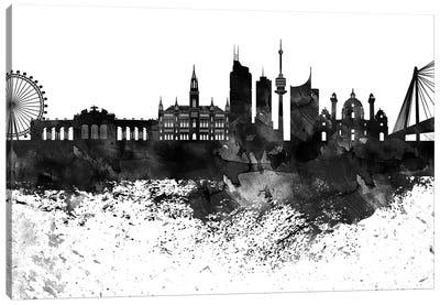 Vienna Skyline Black & White Drops Canvas Art Print