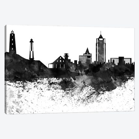 Virginia Skyline Black & White Drops Canvas Print #WDA1248} by WallDecorAddict Canvas Wall Art