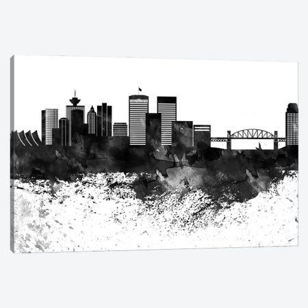 Vancouver Skyline Black & White Drops Canvas Print #WDA1249} by WallDecorAddict Canvas Wall Art