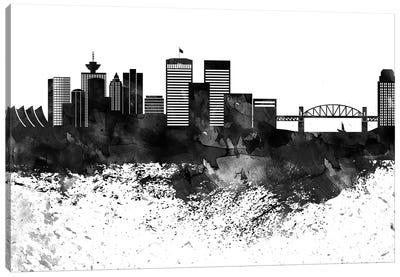 Vancouver Skyline Black & White Drops Canvas Art Print