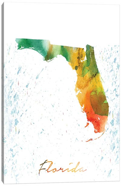 Florida State Colorful Canvas Art Print