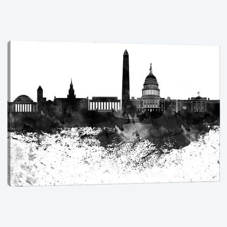 Washington Skyline Black & White Drops Canvas Print #WDA1251} by WallDecorAddict Canvas Art Print