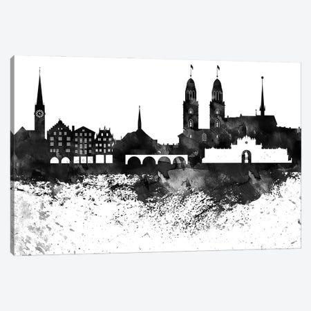 Zurich Skyline Black & White Drops Canvas Print #WDA1254} by WallDecorAddict Canvas Artwork