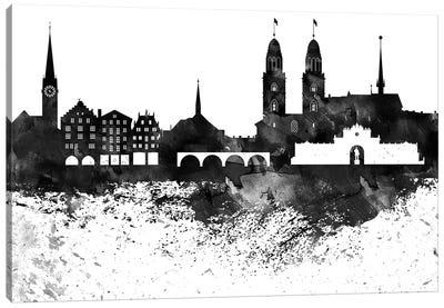 Zurich Skyline Black & White Drops Canvas Art Print