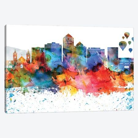 Albuquerque Colorful Watercolor Skyline Canvas Print #WDA1255} by WallDecorAddict Canvas Art