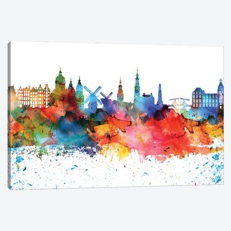Amsterdam Colorful Watercolor Skyline Canvas Print #WDA1256} by WallDecorAddict Canvas Art