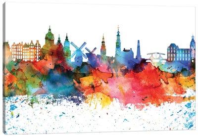 Amsterdam Colorful Watercolor Skyline Canvas Art Print