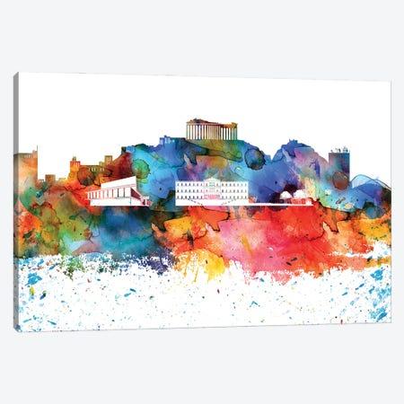 Athens Colorful Watercolor Skyline Canvas Print #WDA1258} by WallDecorAddict Canvas Art Print