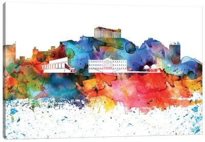 Athens Colorful Watercolor Skyline Canvas Art Print