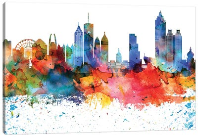 Atlanta Colorful Watercolor Skyline Canvas Art Print