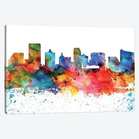 Atlantic City Colorful Watercolor Skyline Canvas Print #WDA1260} by WallDecorAddict Canvas Artwork