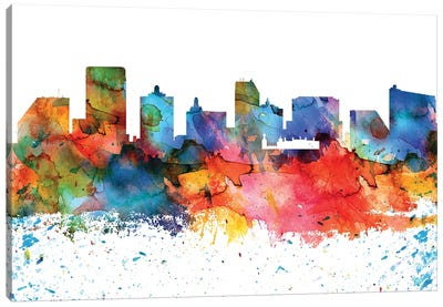 Atlantic City Colorful Watercolor Skyline Canvas Art Print