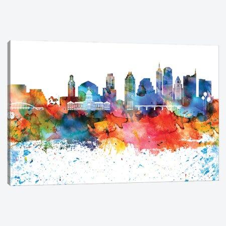 Austin Colorful Watercolor Skyline Canvas Print #WDA1262} by WallDecorAddict Canvas Artwork