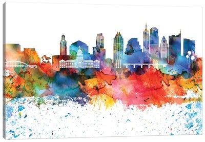 Austin Colorful Watercolor Skyline Canvas Art Print